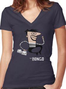 Le Bongo: Beatnik playing the bongos cartoon Women's Fitted V-Neck T-Shirt