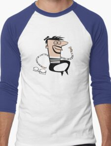 Le Bongo: Beatnik playing the bongos cartoon Men's Baseball ¾ T-Shirt