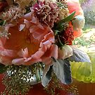 Peonies, carnation and eucalyptus by Barbara Wyeth