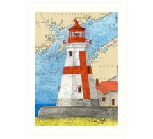 E Quoddy Lighthouse NB Canada Chart Cathy Peek Art Print