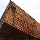 Modern timber clad building. by Jeanette Varcoe.
