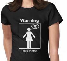 Warning: Talks maths (white, skirt) Womens Fitted T-Shirt