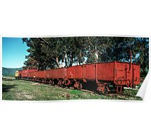 String of goods wagons,guards van and shunter Huon station yard 19830603 0013  Poster