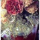 Carnations and Eucalyptus Seeds by Barbara Wyeth