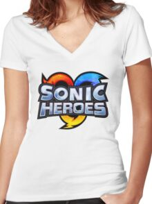 Sonic Heroes Logo Women's Fitted V-Neck T-Shirt