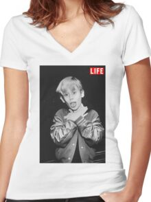 Macaulay Culkin Life Women's Fitted V-Neck T-Shirt