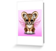 Cute Baby Tiger Cub with Fairy Wings on Pink Greeting Card