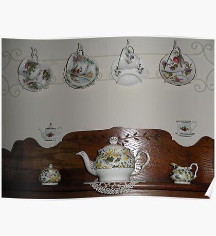Tea Pot And Tea Cups Poster