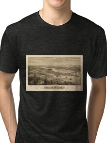 Panoramic Maps Bird's eye view of the city of Olympia East Olympia and Tumwater Puget Sound 1879 Tri-blend T-Shirt