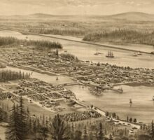 Panoramic Maps Bird's eye view of the city of Olympia East Olympia and Tumwater Puget Sound 1879 Sticker