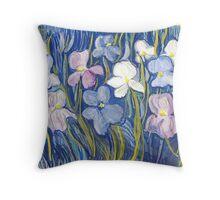 Garden of Iris Throw Pillow