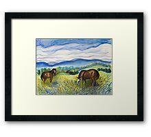 Horses in the Field Framed Print