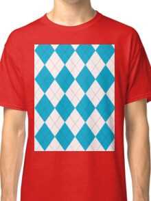 Turquoise and White Argyle Classic T-Shirt
