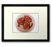 Potato pancakes with cheese and bacon ... Bon Appetit ! Framed Print