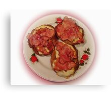 Potato pancakes with cheese and bacon ... Bon Appetit ! Canvas Print