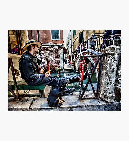 Gondolier in Venice Photographic Print