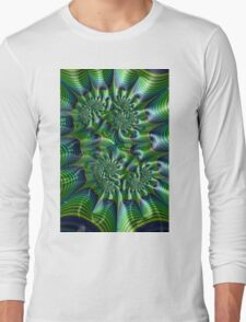 Abstract in Green and Blue Long Sleeve T-Shirt