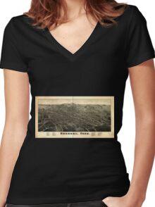 Panoramic Maps Danbury Conn Women's Fitted V-Neck T-Shirt