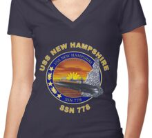 SSN-778 USS New Hampshire for Dark Colors Women's Fitted V-Neck T-Shirt