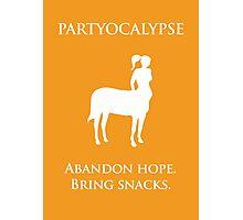 "Partyocalypse! (""No Lies"" white design) Photographic Print"