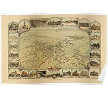 Panoramic Maps Bakersfield Kern County California 1901 Poster
