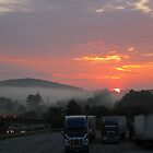 a foggy morning sunrise by LoreLeft27