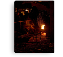 Stoking the OCF Sauna  Canvas Print