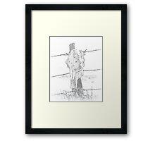 Skull on a fencepost Framed Print