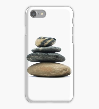 A pile of stones stacked together on a white background iPhone Case/Skin