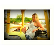 Ashley and the heavy equipment Art Print