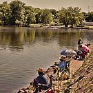 Fishing on the Banks of Mosquito Creek Lake by Sandra Lee Woods