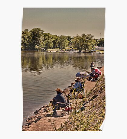 Fishing on the Banks of Mosquito Creek Lake Poster