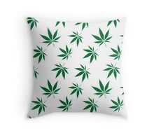 weed pattern large leaf Throw Pillow