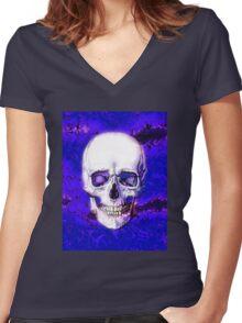 Smiling Skull Women's Fitted V-Neck T-Shirt