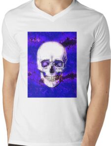 Smiling Skull Mens V-Neck T-Shirt