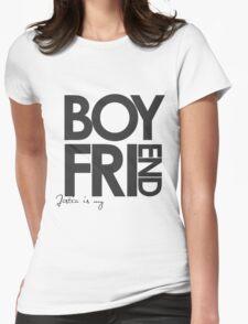 Justin Is My Boyfriend (Dark Grey) Womens Fitted T-Shirt