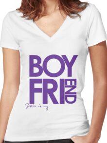 Justin Is My Boyfriend (Purple) Women's Fitted V-Neck T-Shirt