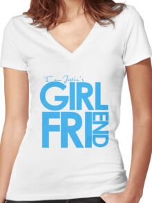 I Am Justin's Girlfriend (Blue) Women's Fitted V-Neck T-Shirt