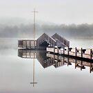 Foggy Morning Lake Tuggeranong by Kym Bradley