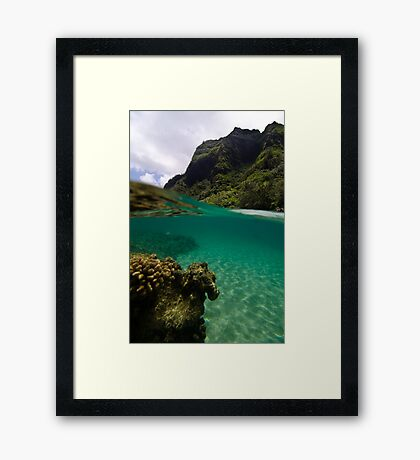 Over Under Ke'e Beach Framed Print