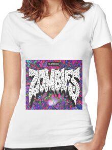FBZ purple splatter background Women's Fitted V-Neck T-Shirt