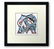 MARLINS WHITE Framed Print