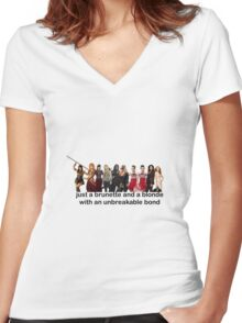 just a brunette and a blonde with an unbreakable bond  Women's Fitted V-Neck T-Shirt