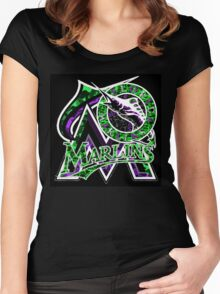 MARLINS BLACK Women's Fitted Scoop T-Shirt
