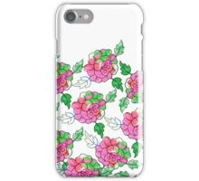 Vintsge chic pink white green watercolor roses iPhone Case/Skin