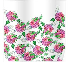 Vintsge chic pink white green watercolor roses Poster