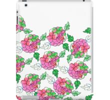 Vintsge chic pink white green watercolor roses iPad Case/Skin