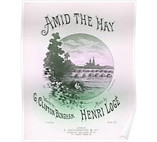 AMID THE HAY (vintage illustration) Poster