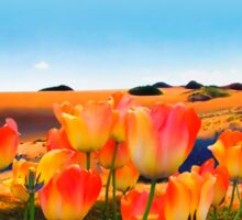 East Meets West, vibrant sand dunes and tulips Sticker