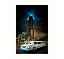 The stretch limo and the moon Art Print